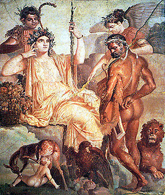 Telephus - Heracles finds Telephus suckled by a deer, with Arkadia, Pan and a winged Virgo looking on, first century AD. Naples, National Archaeological Museum 9008.