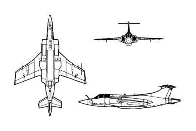 Orthographic projection of the Blackburn Buccaneer.