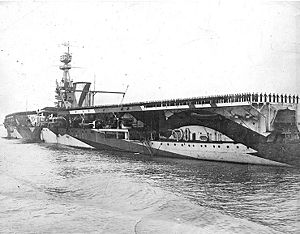 HMS Furious with crew manning the rails