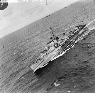 G and H-class destroyer - Aerial view of Highlander at sea, 31 May 1942