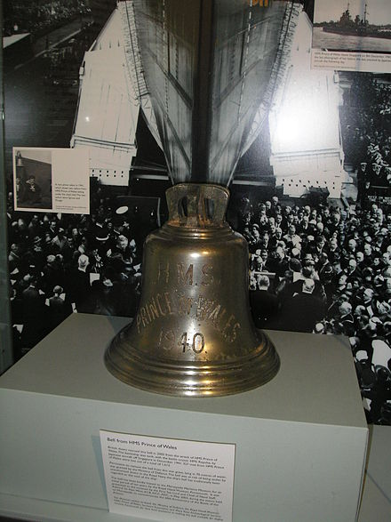 The bell raised from Prince of Wales HMS POW Bell.jpg