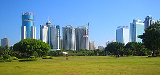 Hainan - Haikou, the capital of the province as seen looking south from Evergreen Park, a large park located on the north shore of the city