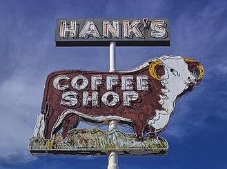 Benson, Arizona - Hanks Coffee Shop sign, 4th Street, Benson, 1979