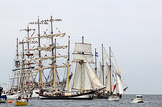 Tall ship - Group of sailing ships at Hanse Sail 2010