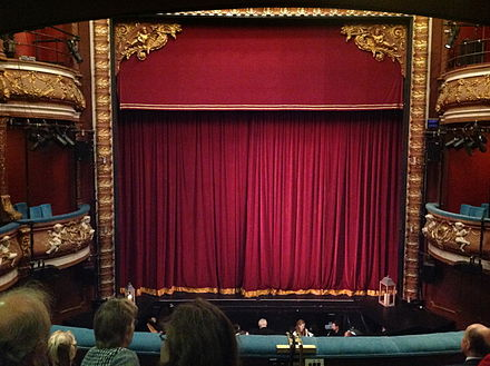 Curtain and orchestra pit of the Harrogate Theatre Harrogate Theatre pit and curtain.jpg