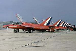 Red Arrows - Gnat T.1s on the flightline at RAF Kemble in 1973
