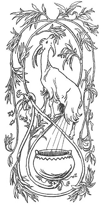 Heiðrún - The goat Heiðrún consumes the foliage of the tree Læraðr, while her udders produce mead, collected in a pot below (1895) by Lorenz Frølich.