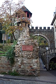 "The Heidenmauer (""Heathen Wall"") is the last remnants of the roman aqueduct of Aquae Mattiacorum. It was formerly seen as an uncompleted defense wall, hence the designation."