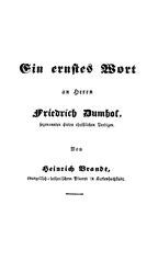 Ein ernstes Wort an Herrn Friedrich Dumhof