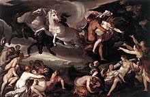 Un bărbat pe un car zburător tras de patru cai ține în brațe o tânără care se luptă, pe care tovarășii săi, dedesubt, încearcă să o rețină.