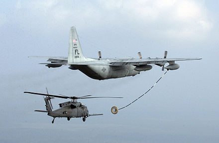 Probe-and-drogue – A USAF HC-130P refuels a HH-60 Pave Hawk. - Aerial refueling