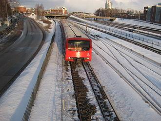 Helsinki Regional Transport Authority - A Helsinki Metro train in East Helsinki.