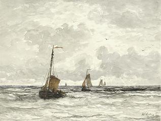 Vissersschepen in de branding
