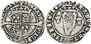 Groat (coin) - Henry VIII minted these Irish groats, crowned coat-of-arms over cross fourchee; mm: trefoil
