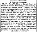Henry A. Tayloe, Travel Announcement to New York City, New York, 1887.jpg