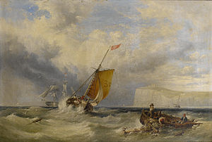 Henry King Taylor - Pilot cutter no. 3 heading back inshore, with a large merchantman hove-to out in the bay.jpg