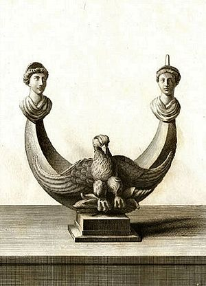 1740s in archaeology - Elaborate oil lamp from Herculaneum, as depicted in Le Antichità di Ercolano (1744).
