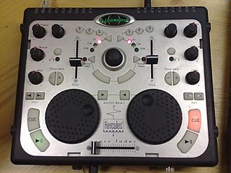 DJ controller - The Hercules DJ Console, one of the first DJ controllers ever made.