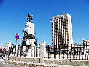 Antonio Maceo Grajales - Hermanos Ameijeiras Hospital in Havana, to the left the monument to Maceo