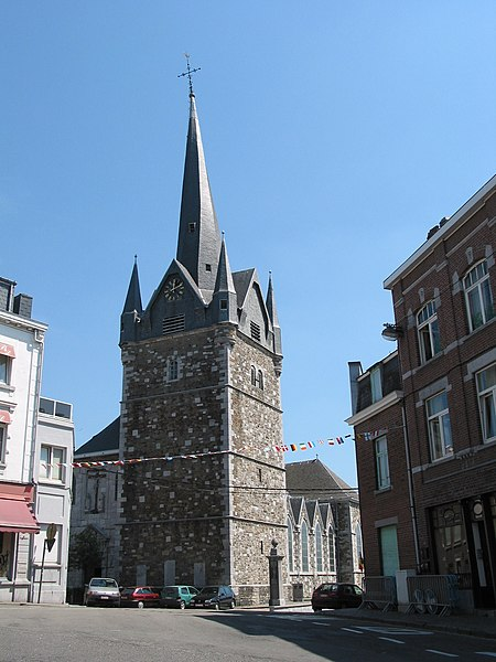Herve (Belgium), the Saint John the Baptist church and his grim bell tower.