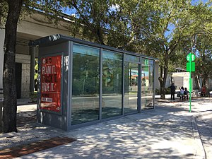 Metrobus (Miami-Dade County) - County's first air conditioned bus shelter at Hialeah station.