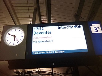 Passenger information system - Central Train Indicator at Hilversum railway station announcing the Intercity towards Deventer which, probably due to a disruption, today ends at Amersfoort.