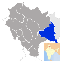 Location of Kinnaur district in Himachal Pradesh
