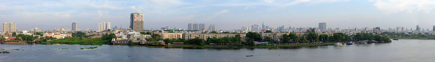 Panorama of the Vietnamese city with high urbanisation rate
