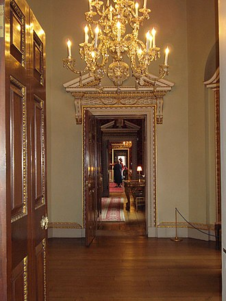 Art collections of Holkham Hall - Looking through the southern tribune of the Statue Gallery along the southern enfilade