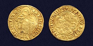 John III, Duke of Bavaria - Holland, gold florin or 'Beiersgulden' with St John the Baptist, struck 1421-1422 by John of Bavaria.