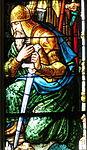 Holy Family Catholic Church (Oldenburg, Indiana) - stained glass, Melchizedek window detail, knight.jpg