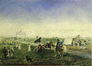 Corrida de sortija - Corrida de sortijas, oil on canvas by the Uruguayan painter Horacio Espondaburu (1855-1902), now in the Museo Histórico Nacional of Montevideo