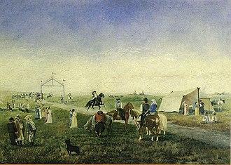 Corrida de sortija - Corrida de sortijas, oil on canvas by the Uruguayan painter Horacio Espondaburu (1855-1902), now in the Museo Histórico Nacional of Montevideo