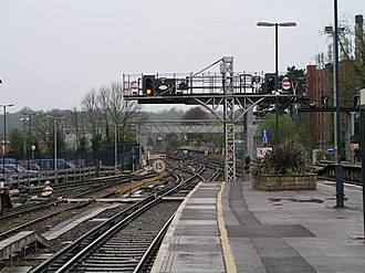 Horsham railway station - The down line from Horsham railway station.