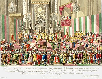 King of Hungary - The coronation of Leopold II at St. Martin's Cathedral in 1790, in Pozsony, site of Hungarian coronations between 1563 and 1830