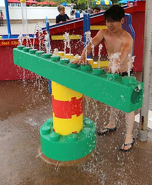 "Legoland - Educational elements of Legoland include the ""hydraulophone"", a water-operated pipe organ"