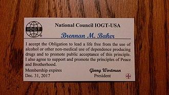 International Organisation of Good Templars - Membership card for the IOGT-USA