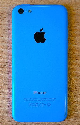 iPhone 5c, a smartphone with a polycarbonate unibody shell IPhone 5c blue back.jpg
