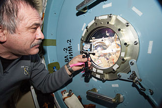 Poisk (ISS module) - Pavel Vinogradov looks out of a Poisk window at someone on EVA. MRM-2 in Russian can be seen written in black script on the inside of the hatch