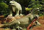 Prehistoric animal sculptures, geological formations and lead mine on Islands and on land facing the Lower Lake
