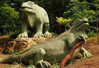 Crystal Palace Park - Benjamin Waterhouse Hawkins's Iguanodon statues.