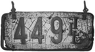 Vehicle registration plates of Illinois - Image: Illinois 1907 license plate 449