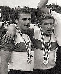 Imants Bodnieks and Viktor Logunov 1964.jpg