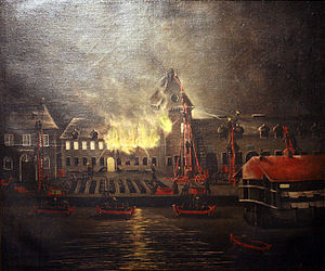 French ship Duquesne (1813) - Image: Incendie de la salle d'armes à Brest Anonymous circa 1832 mg 8012