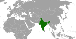 Map indicating locations of India and Lebanon