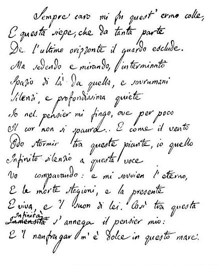 Original manuscript of L'Infinito Infinito.jpg