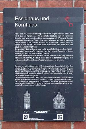 Essighaus - Image: Infotafel Essighaus und Kornhaus