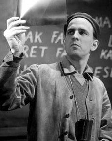 Ingmar Bergman under produktionen avSmultronstället (1957).