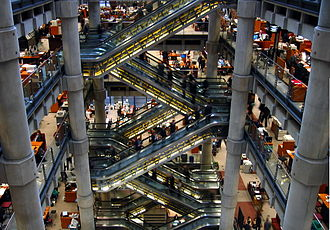 Lloyd's of London - Interior escalators linking the underwriting floors of the Lloyd's building