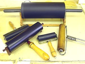 "Brayer - A variety of contemporary rollers (""brayers"")."